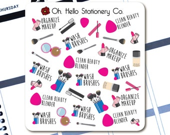 Makeup and Beauty, Wash Brushes and Clean Beauty Blender Stickers - Planner Stickers for Erin Condren Life Planners - I4