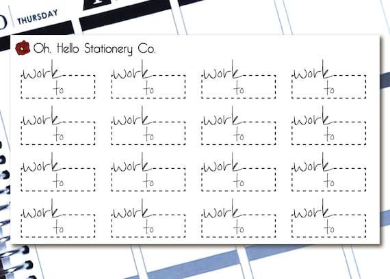 planner stickers work script labels for erin condren life etsy