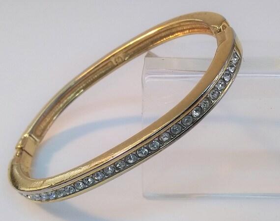 Elegant Swarovski crystal pave diamond gemstone gold bangle bracelet