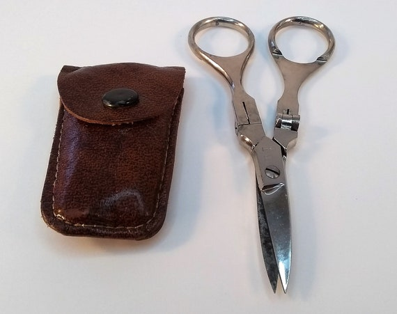 Wiss folding travel scissors in tiny original leather case, 1920's, made in Italy, well crafted, makes a great gift