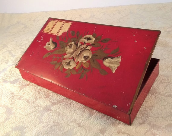 Beautifully hand painted vintage red metal storage box, Toile Painted, 1940's, useful for organizing your desk or hall table,