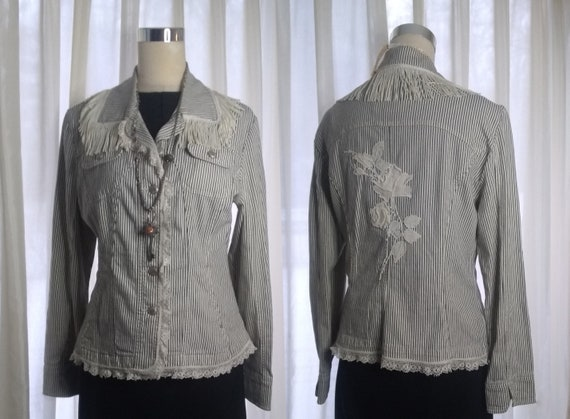 Black & white pinstripe fringe embellished jean jacket, with vintage floral applique, upcycled, one of a kind, ooak
