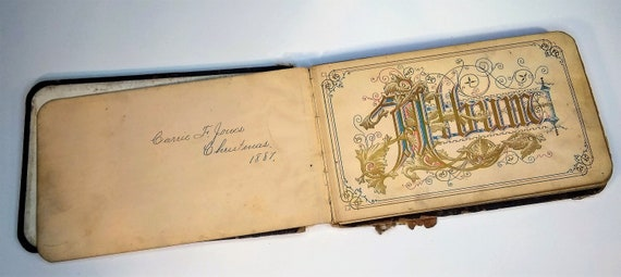 The antique autograph book of Carrie F. Jones, Christmas, 1887, Columbus, Ohio