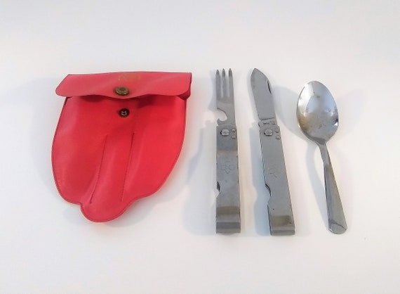 Girl Scouts of the USA, Original 1960's folding camping 3 piece silverware set in original red plastic case, vintage