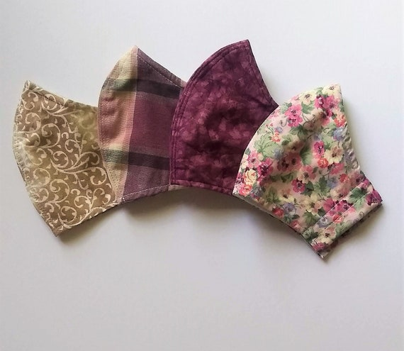 4 face masks w/ pocket for filter, wire for nose, free shipping, comfortable, washable, choose fabric & elastic or tie
