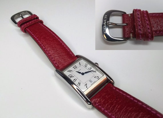 Vintage Red Coach watch with a Swiss Made Stainless Steel case, number W502B. Water resistant 3 ATM