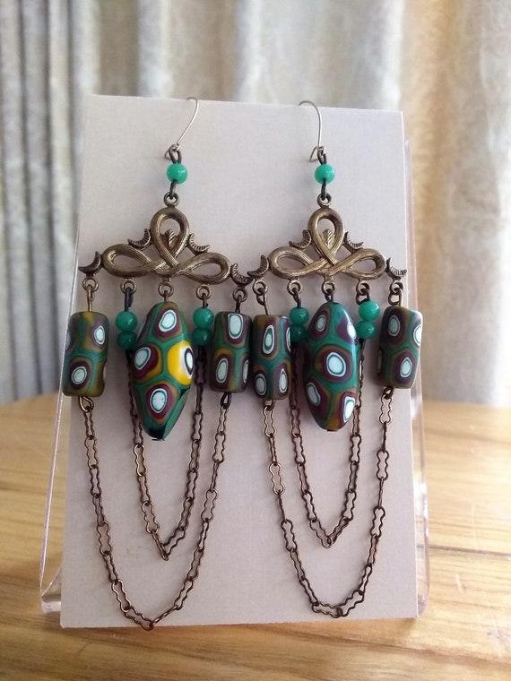 Antique Venetian Trade Beads, olive green beaded c