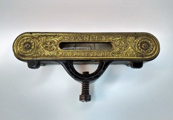 Stanley Pocket Level, miniature vintage brass plated cast iron straight edge and working bubble level, PAT. June 23, 1896