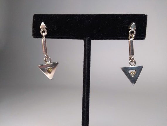 Tiny Sterling Silver triangle earrings with a trapped gold ball, lots of movement, posts, vintage 1970's