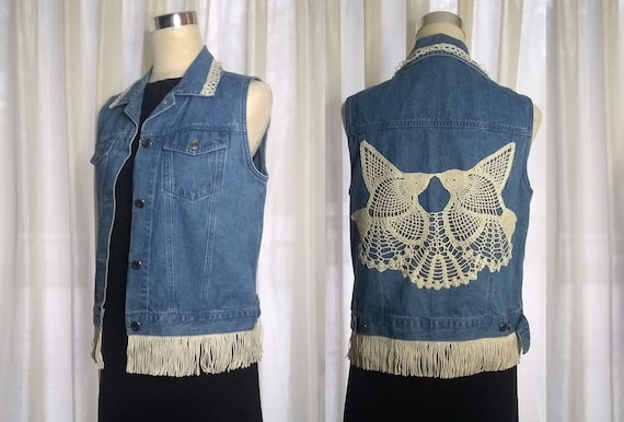 Lace Embellished denim vest, size M, cotton, with hand sewn vintage lace accents, fringe and a lace bird applique, upcycled, one of a kind