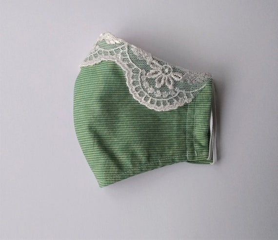 Leftover Lace, light green moire, soft striped face mask with pocket for filter, wire for nose, free shipping