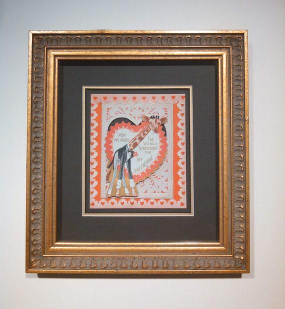 Vintage framed giraffe in a tux valentine collage of valentine cards