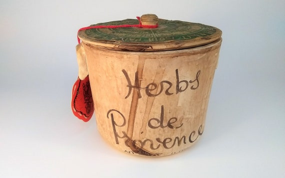 Large 11 oz Herbs of Provence, Handpainted Ceramic Pot with Lid, Empty, Vintage from the 80's