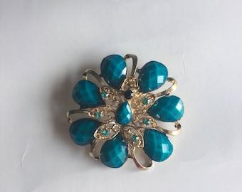 Pin Brooch Golden Blue