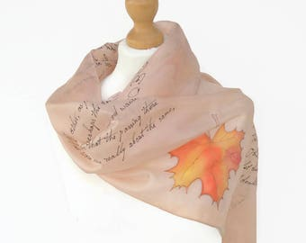 Robert Frost book Scarf with Swarovski Crystal Ring bookish Gift for lyric lovers Silk Hand Painted Scarf READY to Ship more color available