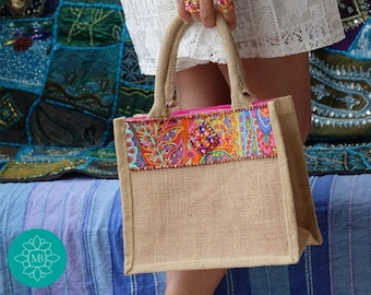 Tote bag, in jute, embellished with a fabric braid and a crystal motif, Bohemian Rhapsody tote bag