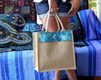 Tote bag, large bag, beach bag, in jute, embellished with a fabric braid and a crystal motif, Molokai tote