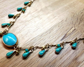 Fine golden necklace with charms, turquoise, choker, Hawaii necklace