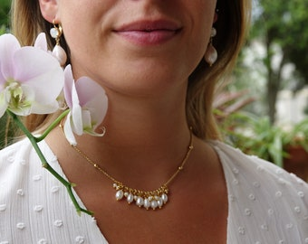 Fine necklace, choker, gilded with fine gold and adorned with freshwater pearls, DUNE necklace