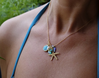 Fine Gold Necklace with Charms, Starfish, Shell, Abalone Mother of Pearl, Freshwater Pearl, Maui Necklace