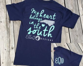 Monogrammed Heart in the South Short Sleeve Shirt, Southern Sayings, Southern Shirt, Country Shirt, Southern Phrase, Southern Style