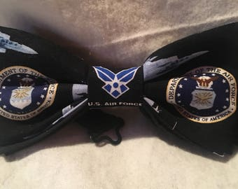 United States Air Force bow tie, Air Force adult mens , teen adjustable strap bow tie up to 18 inches. Pre-tied cotton bow tie.
