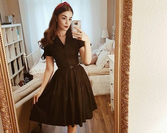 Trudie Dress in Solid Raven Black COTTON