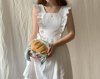 Lorraine Dress in Solid White LINEN