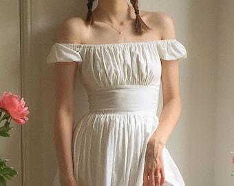 Loretta Dress in Solid White COTTON