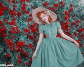 Bonnie Dress in Solid Jade Green