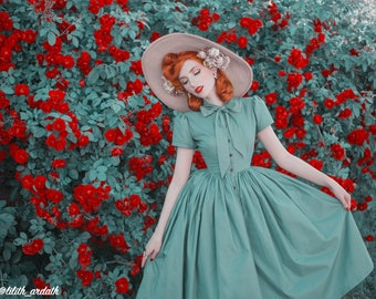 Bonnie Dress in Solid Jade Green COTTON