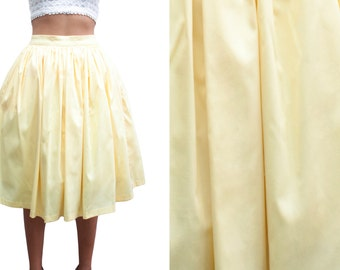 """4021dea22 Lola Skirt """"I Can't Believe It's Not Butter"""" in a Pale Yellow Cotton Sateen"""