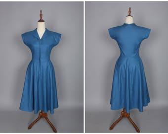 Doris Dress in Solid Air Force Blue