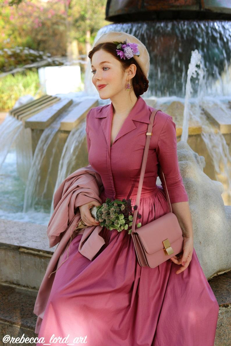 1950s Style Clothing & Fashion Natalie Dress in Solid Mauve Rose COTTON $110.00 AT vintagedancer.com