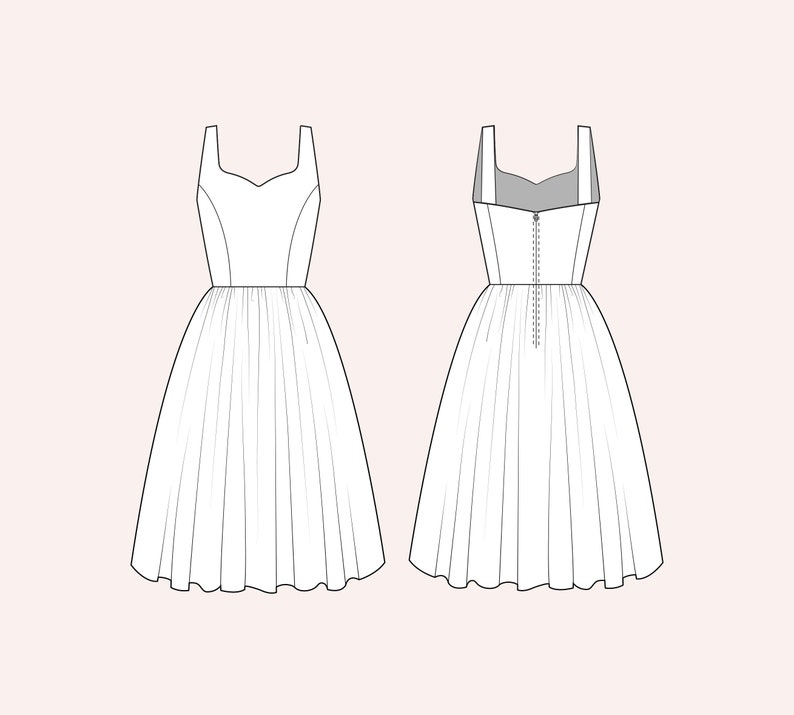 1950s Plus Size Dresses, Swing Dresses Choose a fabric: Elizabeth Dress $98.00 AT vintagedancer.com
