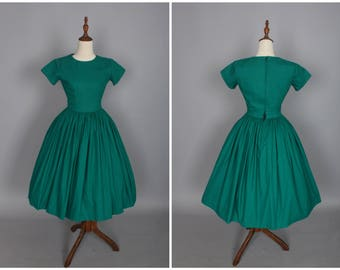 READY MADE - XS - Dorothy Dress in Solid Pine Green Cotton