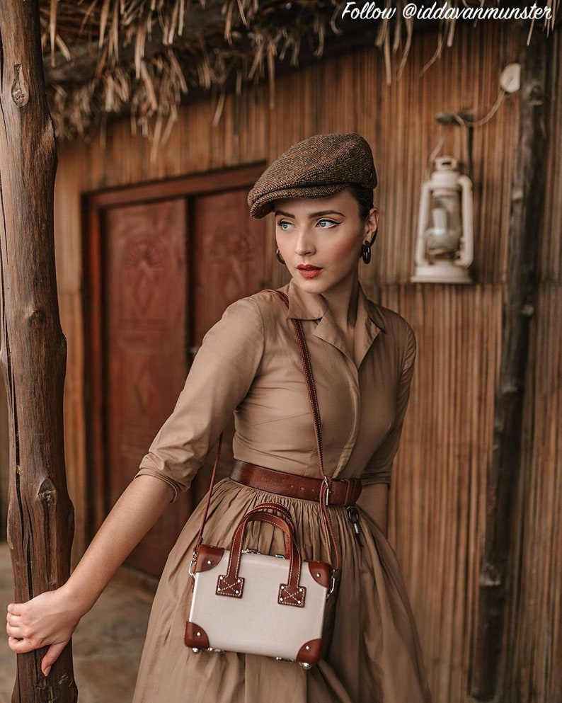 Pin Up Girl Costumes | Pin Up Costumes Natalie Dress in Solid Camel Beige COTTON $110.00 AT vintagedancer.com