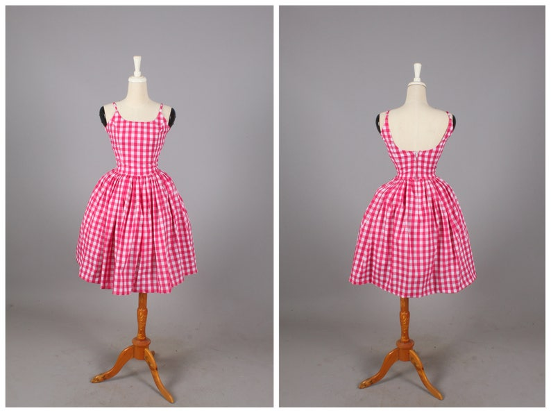 "Penelope Dress ""Pink Cadillac"" Hot Pink Gingham"
