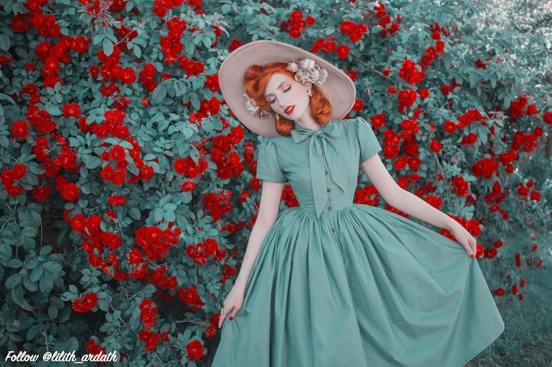 10+ Websites with 1940s Dresses for Sale Bonnie Dress in Solid Jade Green COTTON $110.00 AT vintagedancer.com