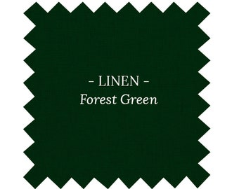 Fabric in Solid Forest Green LINEN - By the Yard