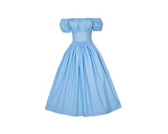 Loretta Dress in Solid Cinderella Blue COTTON
