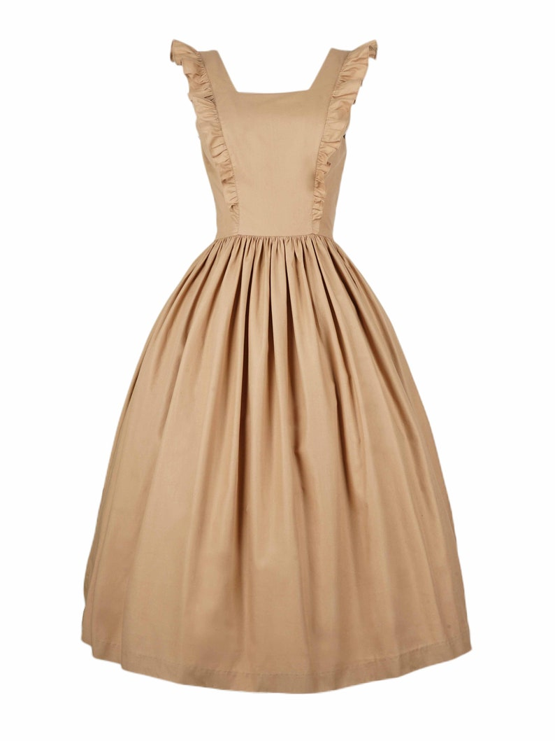 1940s Dress Styles Lorraine Dress in Solid Camel Beige COTTON $110.00 AT vintagedancer.com