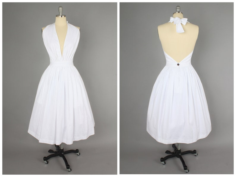Pin Up Girl Costumes | Pin Up Costumes Charlotte Dress in Solid White COTTON $110.00 AT vintagedancer.com
