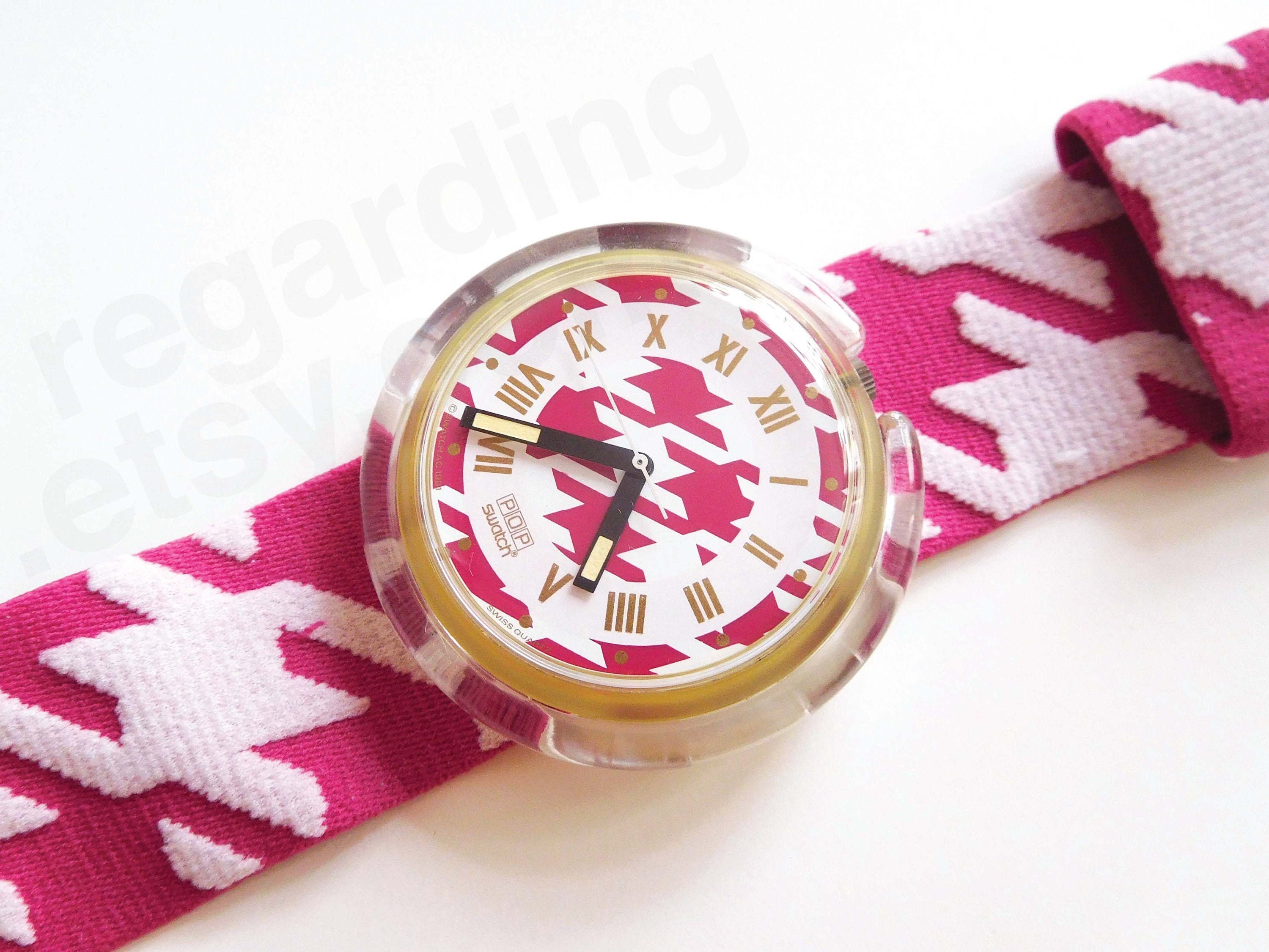 Pwk164 Mlle 39mm Pop Swatch Watch 1990s Pink And Etsy