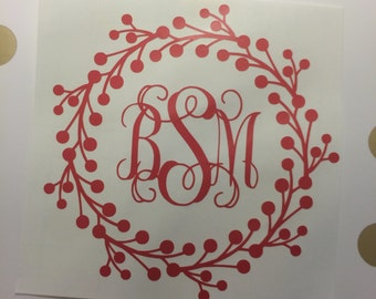 Monogram Decal, Monogram Sticker, Wreath Decal, Wreath Sticker, Car Sticker, Car Decal