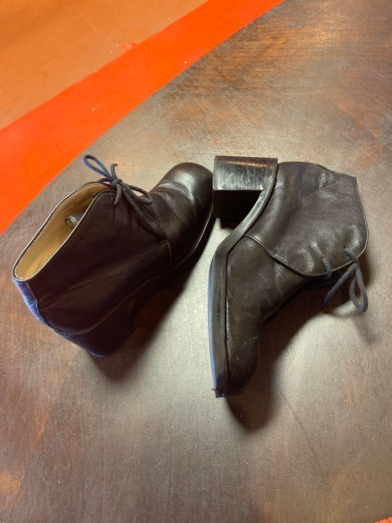 Vintage leather chunky heel boots size 6.5