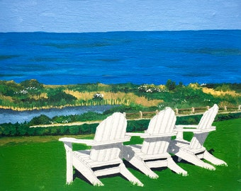 Block Island Iconic Scene...Water and Adirondack Chairs!