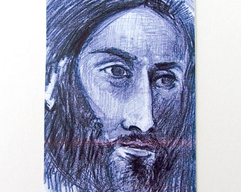 Limited Edition ACEO Print  - Portrait of a man on blue paper- Limited Edition