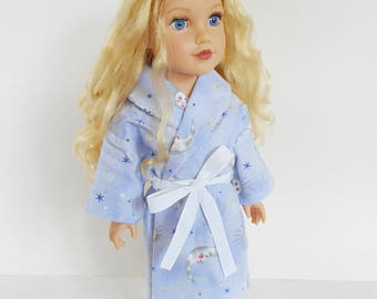 Periwinkle Blue Purple Moon and Stars Night Robe For 18 Inch Dolls