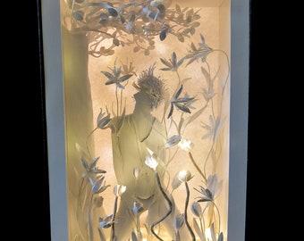 GROWING UP-Light box-Gift-Handmade-Handmade-Love-Gift original-paper-Paper-art -boy-HAIR-leaves-miniature-flower-lily- Valentine's day